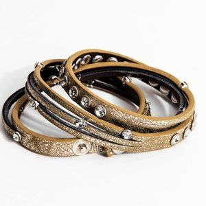 New: Made in the US. Crystal Studded Wrap Bracelet